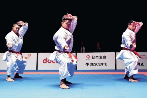 "The ""Pride of Okinawa"" dominate the Male Team Kata to take the gold at Karate 1 – Series A Okinawa Tournament"