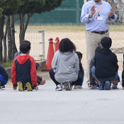 Futenma elementary school's yearly evacuation drill assumes a U.S. military aircraft crash