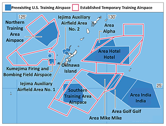 U.S. training airspace around Okinawa expanded under guise of temporary use, impeding civil aviation