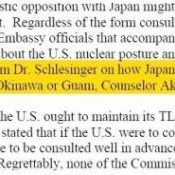 "Foreign Affairs Vice-Minister Akiba denies making his 2009 statement that proposing nuclear storage site on Okinawa or Guam would be ""persuasive,"" recorded in U.S. Congressional memo"