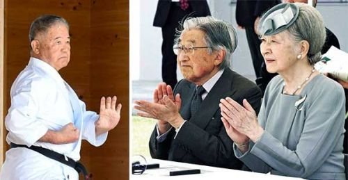 Emperor and Empress enjoy Okinawa karate demonstration on their last official visit to Okinawa