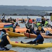 "Citizens call ""protect the coral"" from 70 canoes and 9 boats to protest Henoko base"