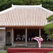Okinawa Karate demonstration held at Shikinaen to pray for success of International Tournament