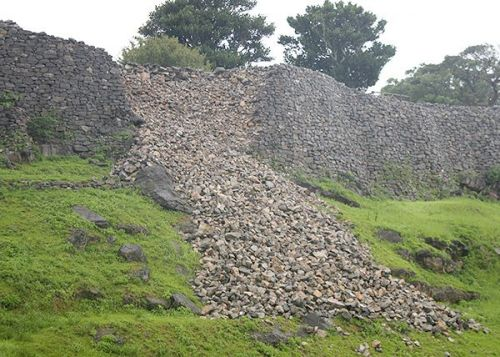 World Heritage site Nakijin Castle wall collapses due to Typhoon Number Seven