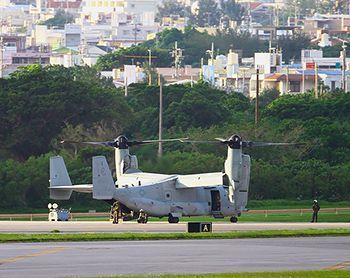 Two Futenma-based Osprey make successive emergency landings in Amami and Kadena