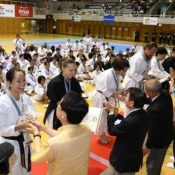Finalists receive their medals at the 1st Okinawa International Karate Tournament