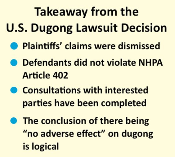 Dugong lawsuit dismissed in San Francisco District Court in favor of U.S. government