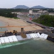 ODB begins soil deposits into new land reclamation section in Henoko at 2:58 p.m. on March 25