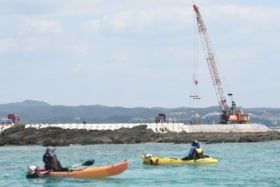 Citizens stage sit-in and canoe protests as K8 seawall construction continues in Henoko