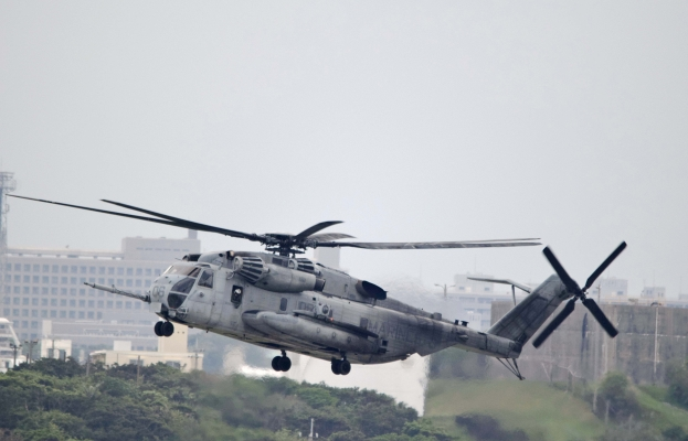 Window falls from Futenma Air Station CH-53 helicopter over East China Sea off Okinawa Island