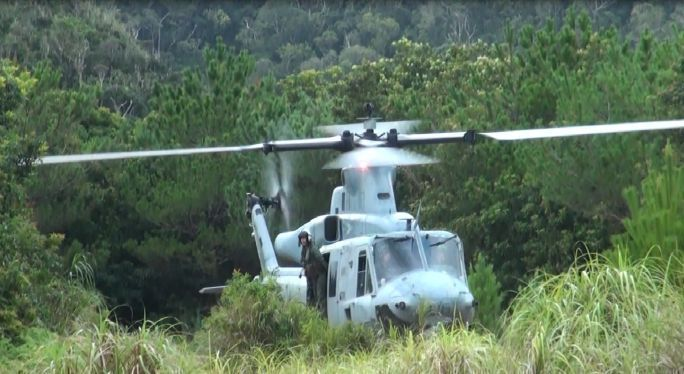Researcher spots U.S. military helicopter landing on former NTA land in Ada, Kunigami Village