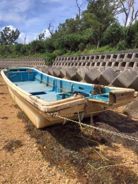 Fishing boat washes ashore in Okinawa 8 years after being swept away in 2011 Tohoku tsunami