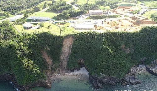 The coast near the U.S. military's Henoko Ordnance Ammunition Depot where the landslide occurred.