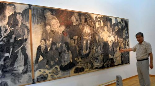 All 14 panels of the Marukis' Pictures of the Battle of Okinawa exhibited at Sakima Museum