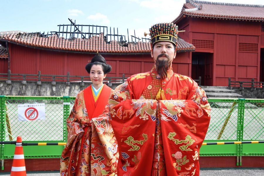 New Year's Banquet held at Shuri Castle first time after fire