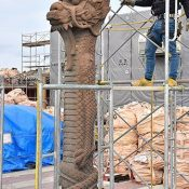 Basic Repairs on the Dragon Pillars which Remained Standing After the Fire at Shuri Castle