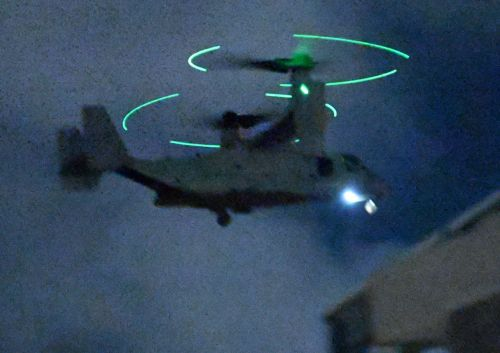 """It was so loud that I couldn't sleep"", Osprey land on MCAS Futenma just before 11:00 p.m."
