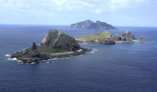 Four police helicopters parked at Naha Airport for guarding the Senkaku Islands