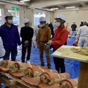 Preserving the craft, craftsmen learn to plaster traditional Ryukyuan red-tiles