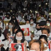 Memorial in Naha for victims in Myanmar protests