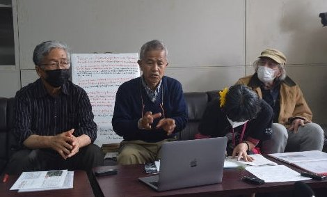 """Hunger-striking Takamatsu Gushiken claims to foreign media, """"The U.S. has a concerned interest in the dirt excavation."""""""