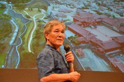 Kurayoshi Takara gives lecture on Shuri Castle restoration effort in Naha