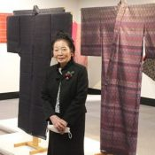 Exhibit of Ryukyu Kingdom era garments reproduced by Kyoko Shukumine displays woven colors that can't be expressed with paints
