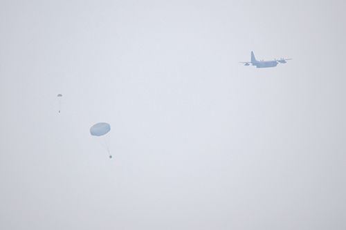MC-130J aircraft observed at low altitude after sixth U.S. military parachute drop training of 2021