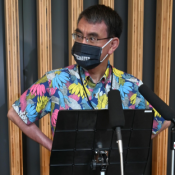 """Kono says it """"feels good,"""" unveiling a new Kariyushi shirt after getting the COVID-19 vaccine"""