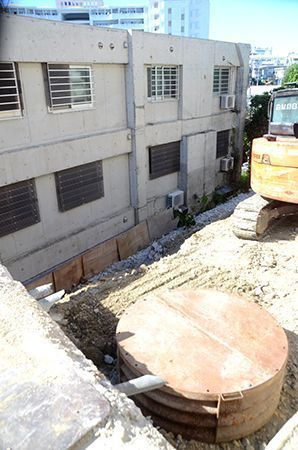 Unexploded ordinance found in a construction site next to civilian house in Naha
